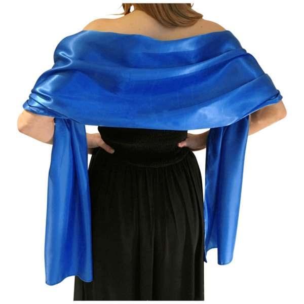 Matrimonio Bridesmaids Prom Dress Stretch Satin Scialle donna royal blue e bianco 175 * 70cm