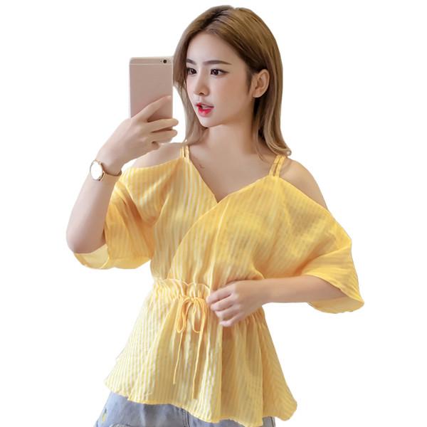 Fora do ombro blusas listradas camisas 2018 nova v-neck cinta manga curta elástico de cintura alta blusa mulheres verde menta top amarelo