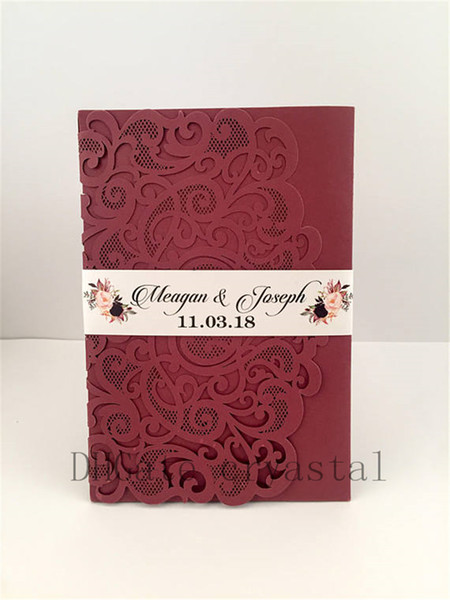 best selling Elegant Marsala Burgundy Pocket Wedding Invitations Die Cut Laser Cut Jackets Wedding Invites, 20+ Colors Available