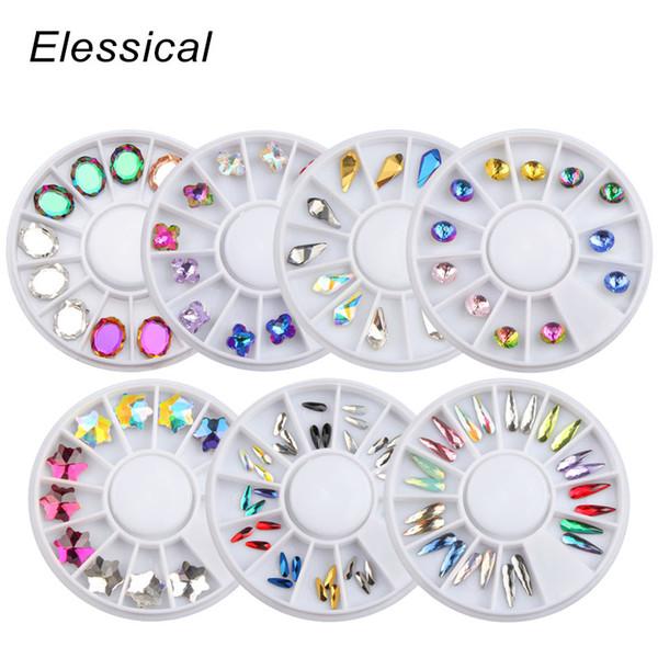 Glitter Opale Cristal Nail Art Deorations Goutte D'eau Strass Nail Roue Fournitures Holographique Charme Autocollant Accessoires