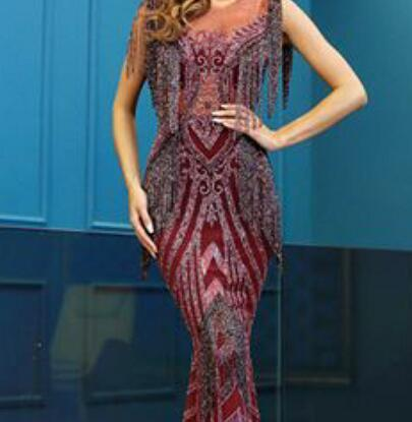 Evening dress Long Dress Tulle Printed O-Neck Tulle CollarBeaded Sash Ruffle Satin Colorful Zipper Mermaid Zuhair murad Kim kardashian