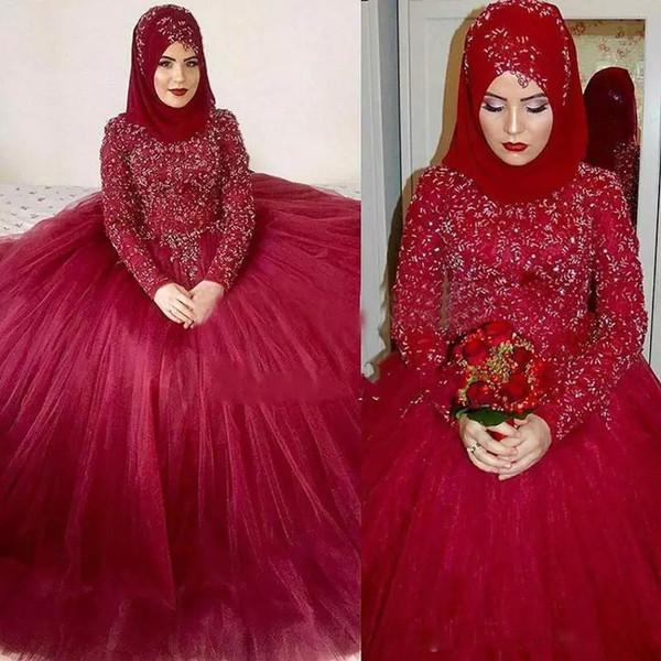 Red Ball Gown Muslim Wedding Dress for Bridal High Neck Long Sleeve Beads Dubai Arabic Plus Size vestido de noiva Bridal Gown