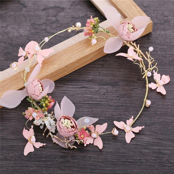 Handmade Pink Wedding Flower Leaf Hair Band Pearl Crystal Butterfly Crown Headband For Women Prom Bridal Hair Jewelry