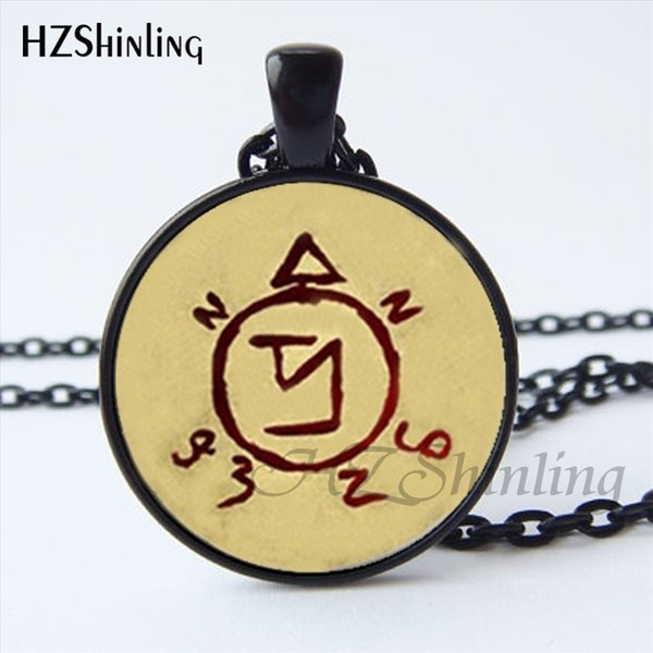 NS-00754 New Supernatural Spell Angel Banishing Sigil Pendant Necklace Round Back Home Sigil Glass Dome Necklace