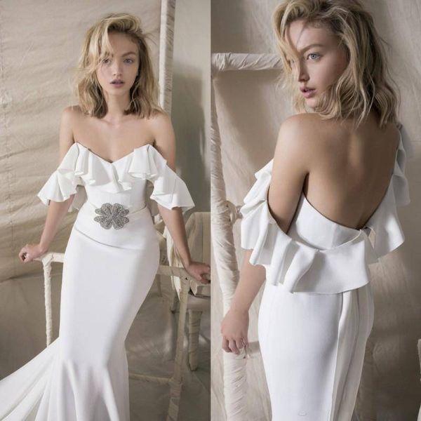 2018 Lihi Hod Beach mermaid wedding dresses With Beaded Sash Off The Shoulder Bohemian Boho Customized Vestido De Novia Wedding Dress