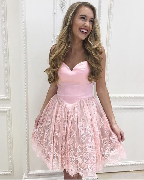 2018 Arabic Short A Line Pink Homecoming Dresses Lovely Sweetheart Lace Applique Knee Length Corset For Junior Cocktail Party Prom Gowns