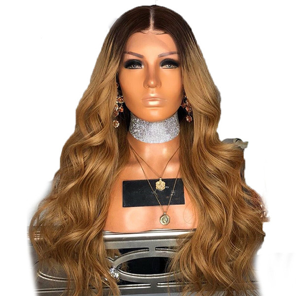 Ombre #1b 27 Human Hair Wig For Black Women Body Wave Full Lace Wig With Baby Hair Brazilian Lace Front Human Hair Wigs
