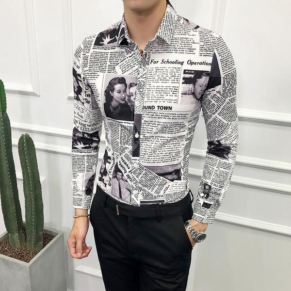 2018 Designer Pattern Shirt Newspaper Shirt Camisa Social Masculina Stylish For Men Party Club Unique Slim Fit 5xl