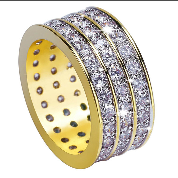 Hip Hop Rock Gold Color Plated Round Rings Cool Full Iced Out Micro Pave CZ Stone Ring For Male Jewelry Gift BR012