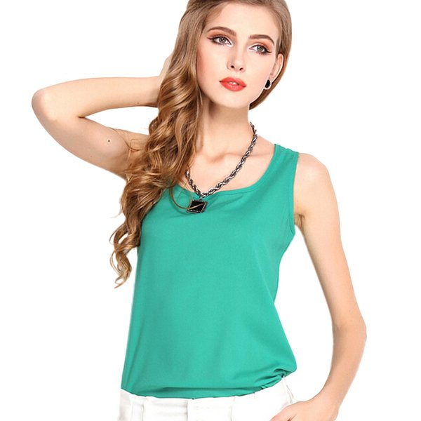 Fashion Women Candy Color Chiffon T-Shirt Girl Green O-neck Sleeveless Vest Tee Shirts Female Summer Casual Tops Plus Size