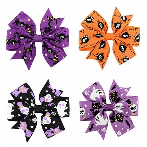 24pcs Holiday Ribbon Bow Alligator Halloween Bowknot Hair Clip For Children Halloween Hair Accessories Hairpins Grosgrain Ghost Pinwheel