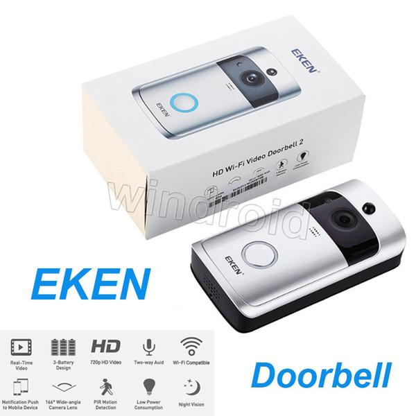 top popular Original EKEN Smart Wireless Video Doorbell 720P HD Wifi Security Camera Real Time Two Way Talk and Video APP Control PIR Intercom 20pcs 2021