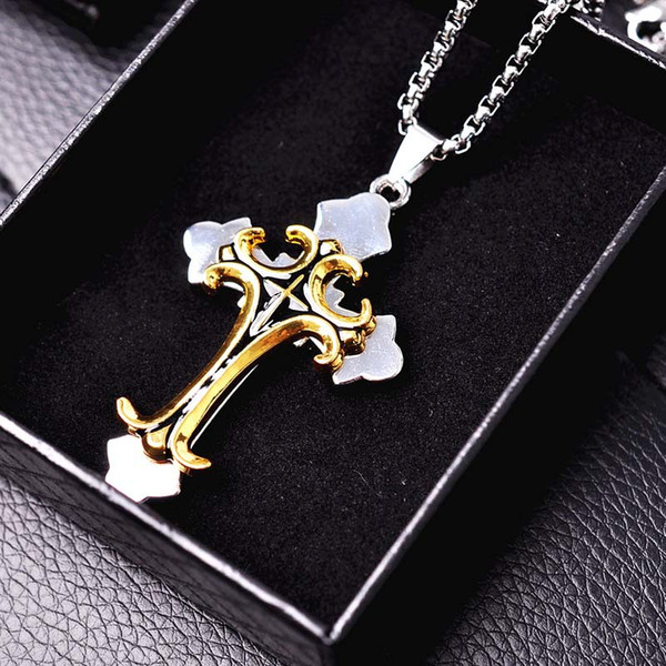 Cross Pendant Necklaces Hip-hop And StreetDance Necklaces For Mens And Womens Personalized Hip Hop Accessories Golden And Silvery