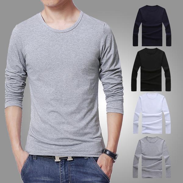 Arbeiten Sie beiläufige Männer T-Shirt 3 Farben Langhülse dünnes T-Shirt junge Männer um Reine Farbe Hemd 3XL Größe O-Ansatz