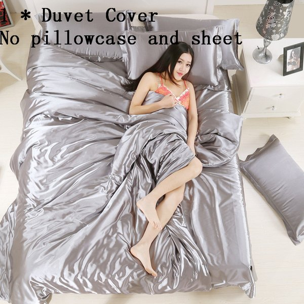 Enipate 1 Pcs Duvet Cover Comfortable Pure Satin Silk Bedding Home Textile Full/queen/King Size Bedclothes Quilt