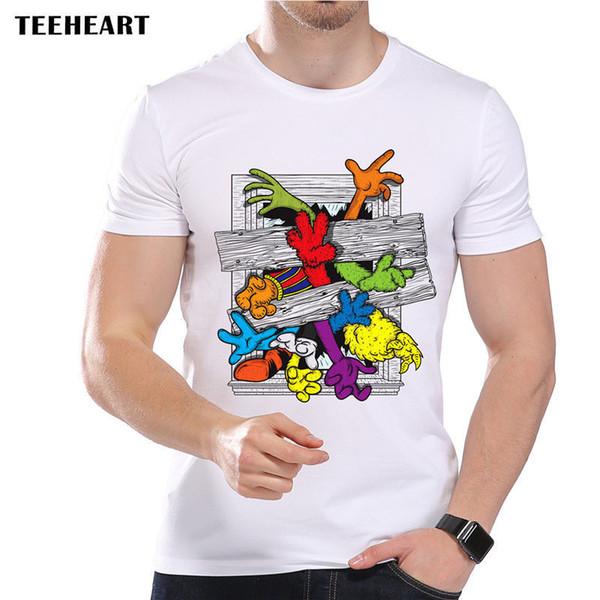 Reach Out For Help Cartoon Colorful Hands Cute Funny Joke Men T Shirt Tee