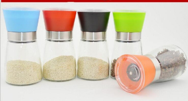 best selling Salt and Pepper mill grinder Glass Pepper grinder Shaker Spice Salt Container Condiment Jar Holder grinding bottles Kitchen Tools