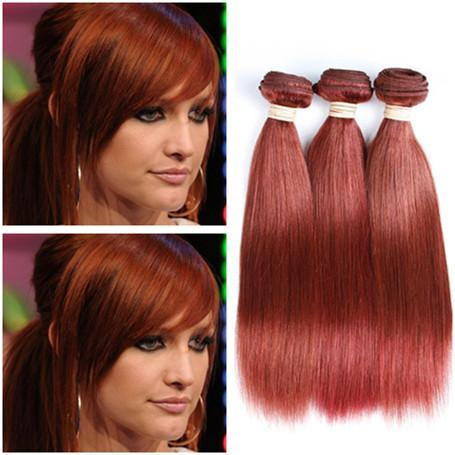#33 Brazilian Reddish Brown Human Hair Weaves 3Pcs Silky Straight Auburn Human Hair Weave Bundles Virgin Remy Human Hair Double Wefts