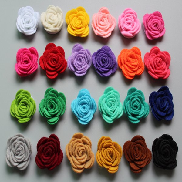 Free Shipping! New 60pcs/lot 24colors Fashion handmade felt rose flower Diy for hair accessories headband ornaments