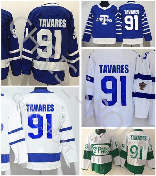 Toronto maple leaf tadium erie hockey jer ey 91 john tavare tpat green aretna titched winter cla ic jer ey, Black;red