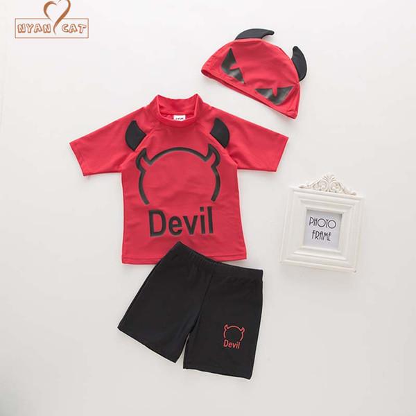 Swim wear New Baby boy costume da bagno costumi da bagno diavolo costumi da bagno + cappello neonato bambino bambini spa vacanza piscina set di abbigliamento