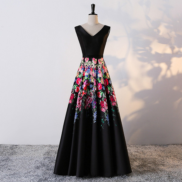 2018 new arrival gorgeous style black prom dress evening party gowns floral print pattern Vestido de Festa sexy v-neck long formal dress