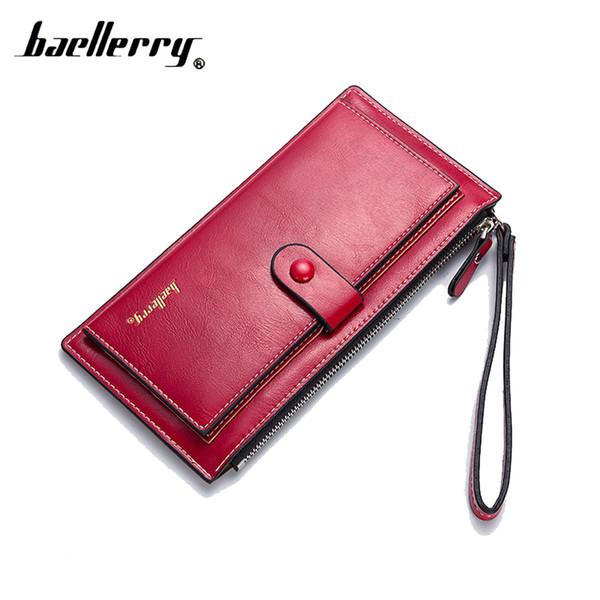 Baellerry Lady Purse Fashion Handbag Woman Wallet Quality Leather Handbag Solid Color Letter Long Zipper Buckle Card Bag Wallet