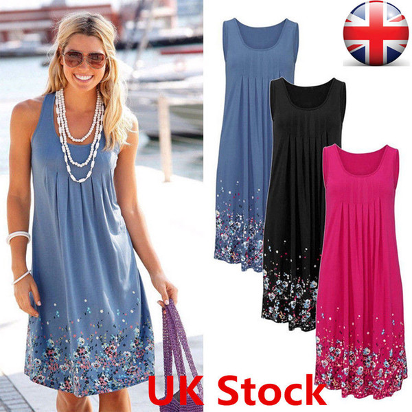 Casual Dresses Women Summer Casual Sleeveless Round Neck Evening Party Cocktail Short Mini Floral Print Loose Dress