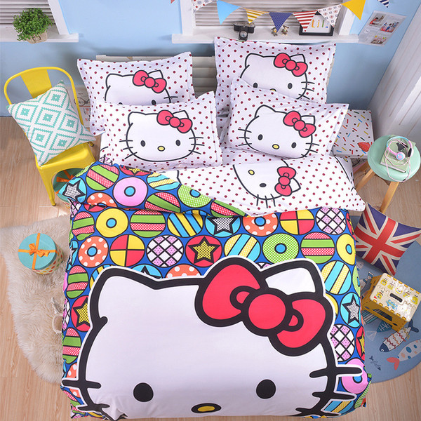 Cartone animato Doraemon Hello Kitty Set biancheria da letto in cotone con lenzuola in cotone per bambini Ragazzi Ragazze regalo Copripiumino in lamiera piana Federa singolo Twin Full