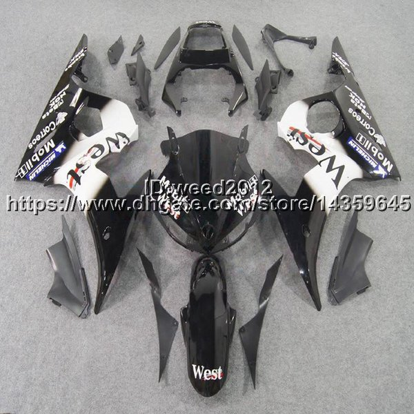 5Gifts+Custom west black YZF-R6 03-05 motorcycle ABS Plastic Body kit for YAMAHA YZFR6 2003 2004 2005 bodywork Fairing