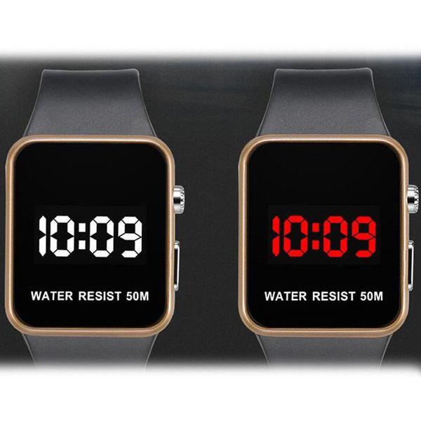 2018 New Fashion LED Watches Men Women Sports Digital wristwatches Calendar Date Silicone waterproof watch Mirror Alarm Clock Wrist Watch