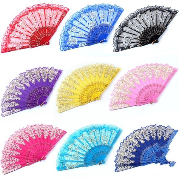 Square Dance Folding Fans Rose Lace Kungfu Hand Fan Plastic Wedding Favors For Guest Gifts Arts And Crafts 3rq gg