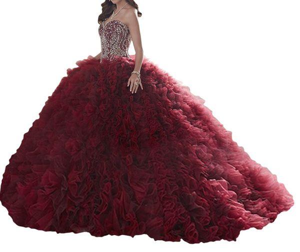 Quinceanera Dresses Crimson heart-shaped collar, back strap, skirt, net, tuxedo, heavy manual, color size, customizable, cheap postage.