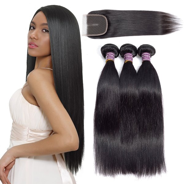 Cheap Straight Brazilian Human Hair Bundles With Closure Unprocessed