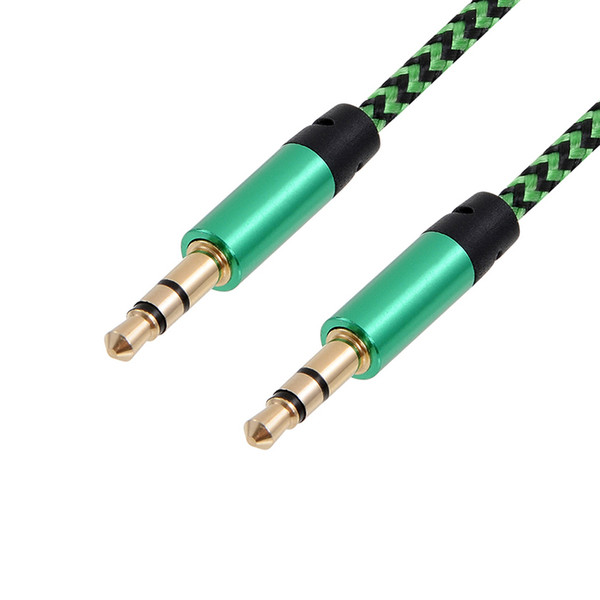 1m Nylon Aux Cable da 3,5 mm a 3,5 mm Jack maschio-maschio Auto Car Audio Cable Gold Plug Cavo linea Kabel Per Iphone 7 Altoparlante Xiaomi
