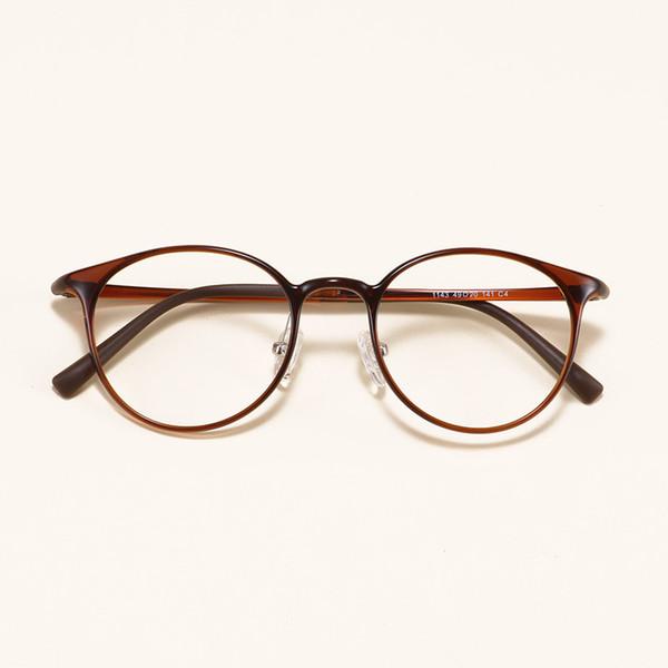 Runde Retro ultraleichte Slim Tungsten Carbon Stahl Prescription Rahmen Student Dekoration Myopie Brillen Brillen großes Gesicht