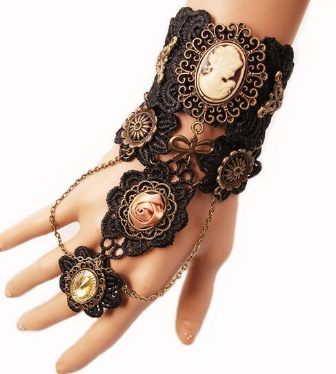 Estilo caliente de Europa y América vintage de encaje pulsera mujer vapor motor engranajes mano adornos banda anillo elegante clásico elegante