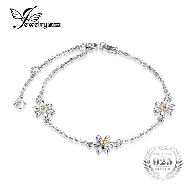 JewelryPalace Fiori 0.1ct Creato Arancione Sapphire braccialetto alla caviglia 925 gioielli Romantico Accessori miglior regalo