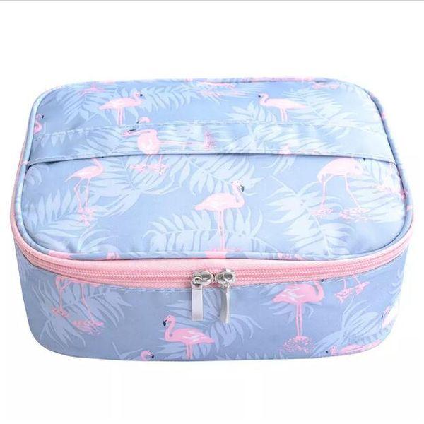 Flamingo waterproof Women Makeup bag Cosmetic bag Case Travel Make Up Toiletry Organizer Storage pouch set box professional