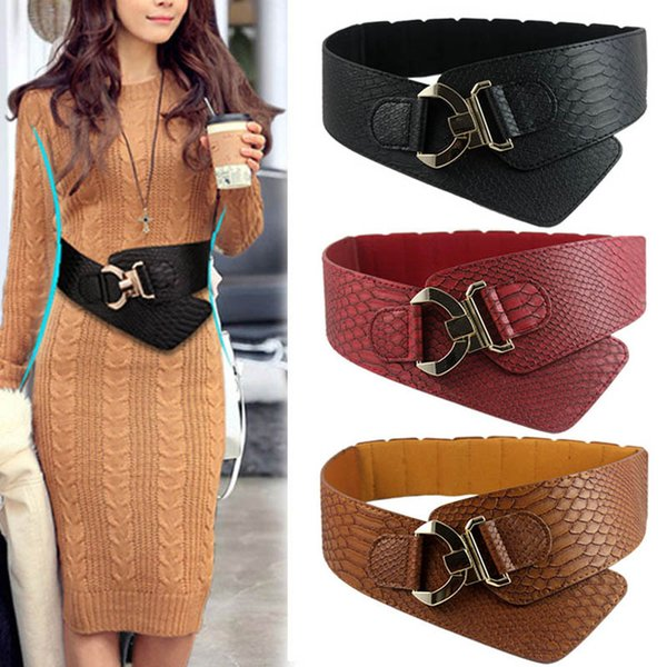 Moda mujer Cinturón de cintura de cuero de LA PU Patrón de piel de serpiente Oblicuo Elástico Personalidad Señoras Chicas Super anchos cinturones XRQ88