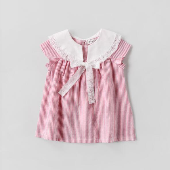 girls dress 2018 hot selling INS summer new Korean style girl short sleeve striped Dress high quality cotton cute Bow tie doll collar dress