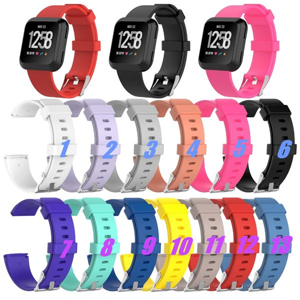 Replacement Wrist Band Strap For Fitbit Versa Sport Watch Colorful Large Small Size Soft TPU Silicone Watchbands With Needle Clasp