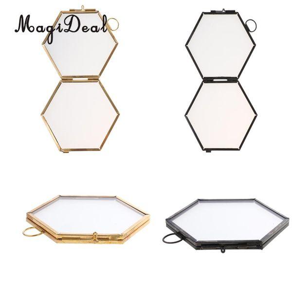 2шт старинные шестиугольник металл стекло фото рамка висит рамка черный + медь