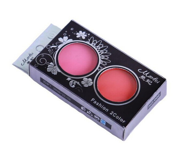 NEW ARRIVAL 1PC 2 Colors Professional Blush Palette Double Layer Micro Flash Makeup Blush Brush Cheek with Mirror B1
