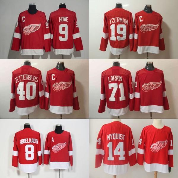 Camisolas Vermelhas Detroit Hings Hockey 9 Gordie Howe 13 Camisolas Pavel Datsyuk 19 Steve Yzerman 71 Bordado Dylan Larkin 40 Henrik Zetterberg