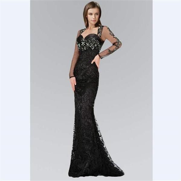cristaux gris sweetheart robe de bal 2018 wanshandress noir dentelle paillettes robes de soirée balayer personnalisé manches longues robes de soirée
