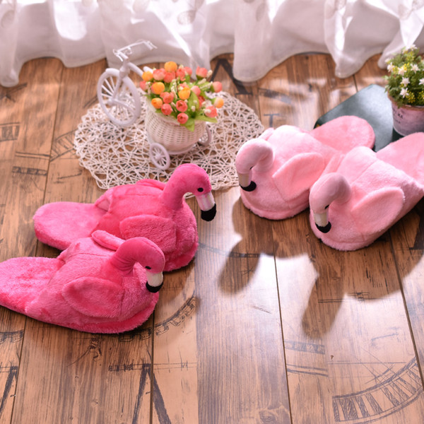 Flamingo doll slippers Winter home couple cotton plush slippers Indoor ladies casual shoes Cute cartoon slippers