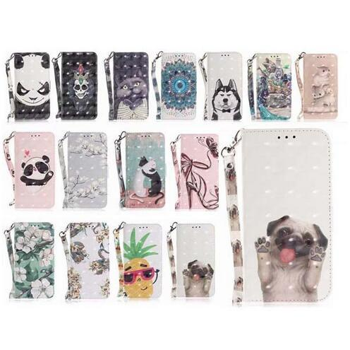 3D Cat Dog Panda Wallet flip PU Leather Covers Cases with Strap for iphone X XS Max XR 8 7 6 6S Plus Samsung S8 S9 Plus Note 8 9 A6 A8 2018