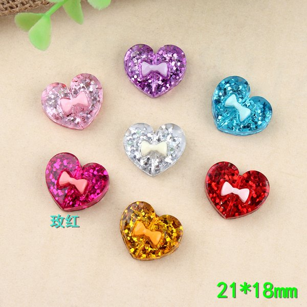 21*18mm Peach love DIY resin heart charms flashing powder sequins Earrings accessories mobile phone shell beauty material
