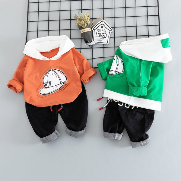 Little Boys Hooded Clothing Set Children Fashion Spring Outfits Girls Sportswear Kids Casual Clothing Cute Infant Babies Toddler 80-110cm